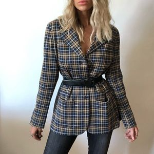 {Vintage} wool blend plaid blazer/jacket